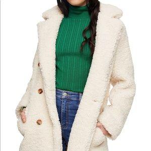 NWT Topshop Faux Fur Pea Coat